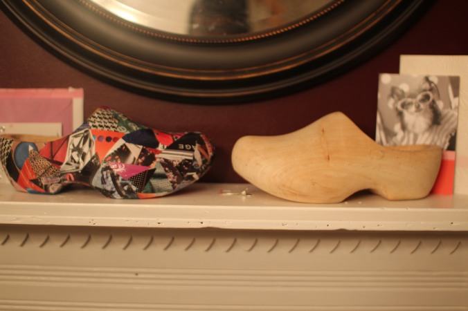 Mod Podge covered wooden clogs